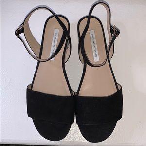 Diane Von Furstenburg Size 9 Black Suede Sandals